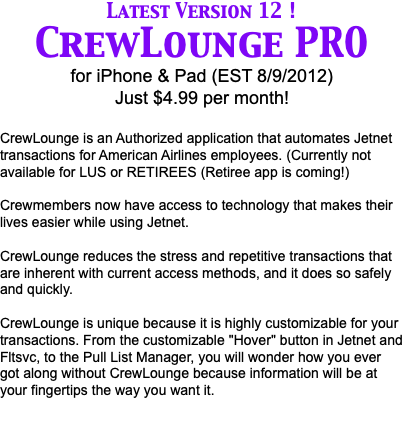 NEW version 9 coming soon! CrewLounge PRO